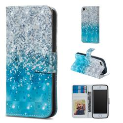 Sea Sand 3D Painted Leather Phone Wallet Case for iPhone SE 5s 5