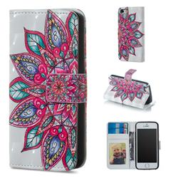 Mandara Flower 3D Painted Leather Phone Wallet Case for iPhone SE 5s 5