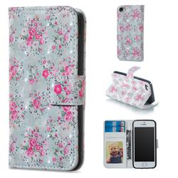 Roses Flower 3D Painted Leather Phone Wallet Case for iPhone SE 5s 5