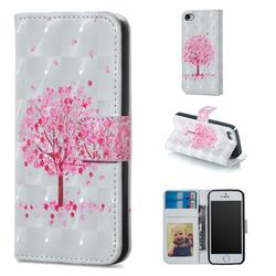 Sakura Flower Tree 3D Painted Leather Phone Wallet Case for iPhone SE 5s 5