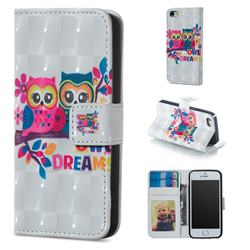 Couple Owl 3D Painted Leather Phone Wallet Case for iPhone SE 5s 5