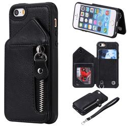 Classic Luxury Buckle Zipper Anti-fall Leather Phone Back Cover for iPhone SE 5s 5 - Black