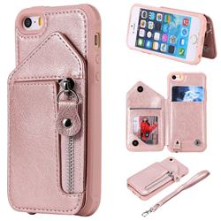 Classic Luxury Buckle Zipper Anti-fall Leather Phone Back Cover for iPhone SE 5s 5 - Pink