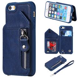 Classic Luxury Buckle Zipper Anti-fall Leather Phone Back Cover for iPhone SE 5s 5 - Blue