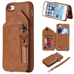 Classic Luxury Buckle Zipper Anti-fall Leather Phone Back Cover for iPhone SE 5s 5 - Brown