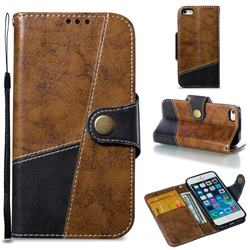 Retro Magnetic Stitching Wallet Flip Cover for iPhone SE 5s 5 - Brown