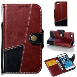 Retro Magnetic Stitching Wallet Flip Cover for iPhone SE 5s 5 - Dark Red