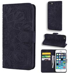 Retro Embossing Mandala Flower Leather Wallet Case for iPhone SE 5s 5 - Black