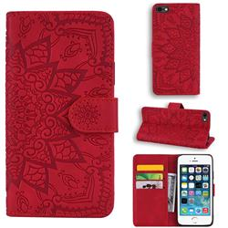 Retro Embossing Mandala Flower Leather Wallet Case for iPhone SE 5s 5 - Red