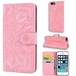 Retro Embossing Mandala Flower Leather Wallet Case for iPhone SE 5s 5 - Pink