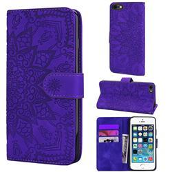 Retro Embossing Mandala Flower Leather Wallet Case for iPhone SE 5s 5 - Purple