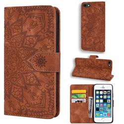 Retro Embossing Mandala Flower Leather Wallet Case for iPhone SE 5s 5 - Brown