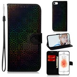Laser Circle Shining Leather Wallet Phone Case for iPhone SE 5s 5 - Black