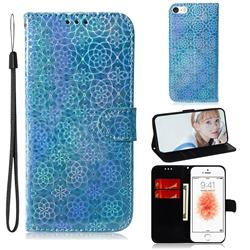 Laser Circle Shining Leather Wallet Phone Case for iPhone SE 5s 5 - Blue