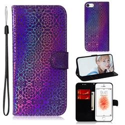Laser Circle Shining Leather Wallet Phone Case for iPhone SE 5s 5 - Purple
