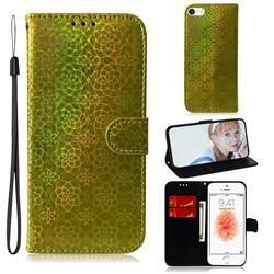 Laser Circle Shining Leather Wallet Phone Case for iPhone SE 5s 5 - Golden