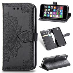 Embossing Imprint Mandala Flower Leather Wallet Case for iPhone SE 5s 5 - Black