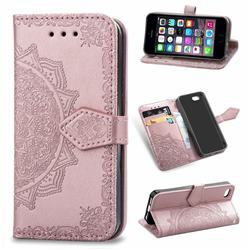 Embossing Imprint Mandala Flower Leather Wallet Case for iPhone SE 5s 5 - Rose Gold