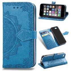 Embossing Imprint Mandala Flower Leather Wallet Case for iPhone SE 5s 5 - Blue