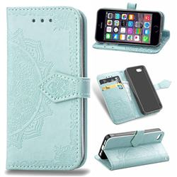 Embossing Imprint Mandala Flower Leather Wallet Case for iPhone SE 5s 5 - Green