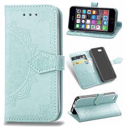 Embossing Imprint Mandala Flower Leather Wallet Case for iPhone SE 5s 5 - Green