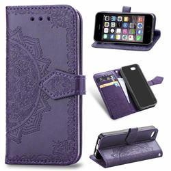 Embossing Imprint Mandala Flower Leather Wallet Case for iPhone SE 5s 5 - Purple