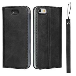 Calf Pattern Magnetic Automatic Suction Leather Wallet Case for iPhone SE 5s 5 - Black