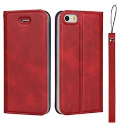 Calf Pattern Magnetic Automatic Suction Leather Wallet Case for iPhone SE 5s 5 - Red
