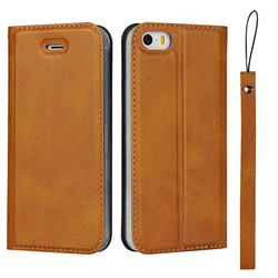 Calf Pattern Magnetic Automatic Suction Leather Wallet Case for iPhone SE 5s 5 - Brown