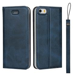 Calf Pattern Magnetic Automatic Suction Leather Wallet Case for iPhone SE 5s 5 - Blue