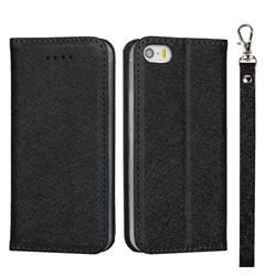 Ultra Slim Magnetic Automatic Suction Silk Lanyard Leather Flip Cover for iPhone SE 5s 5 - Black