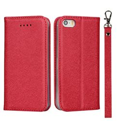 Ultra Slim Magnetic Automatic Suction Silk Lanyard Leather Flip Cover for iPhone SE 5s 5 - Red