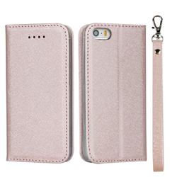 Ultra Slim Magnetic Automatic Suction Silk Lanyard Leather Flip Cover for iPhone SE 5s 5 - Rose Gold