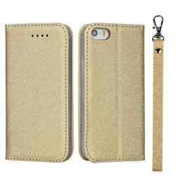 Ultra Slim Magnetic Automatic Suction Silk Lanyard Leather Flip Cover for iPhone SE 5s 5 - Golden