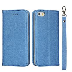 Ultra Slim Magnetic Automatic Suction Silk Lanyard Leather Flip Cover for iPhone SE 5s 5 - Sky Blue