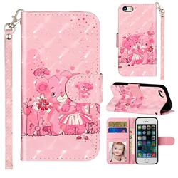 Pink Bear 3D Leather Phone Holster Wallet Case for iPhone SE 5s 5