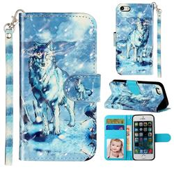 Snow Wolf 3D Leather Phone Holster Wallet Case for iPhone SE 5s 5