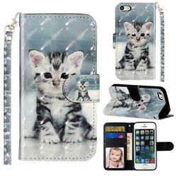 Kitten Cat 3D Leather Phone Holster Wallet Case for iPhone SE 5s 5