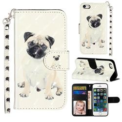 Pug Dog 3D Leather Phone Holster Wallet Case for iPhone SE 5s 5