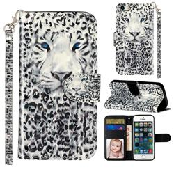 White Leopard 3D Leather Phone Holster Wallet Case for iPhone SE 5s 5