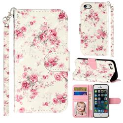Rambler Rose Flower 3D Leather Phone Holster Wallet Case for iPhone SE 5s 5