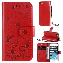 Embossing Bee and Cat Leather Wallet Case for iPhone SE 5s 5 - Red