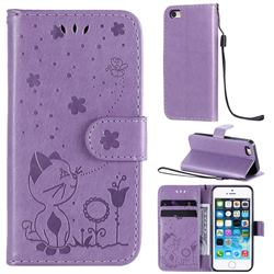 Embossing Bee and Cat Leather Wallet Case for iPhone SE 5s 5 - Purple