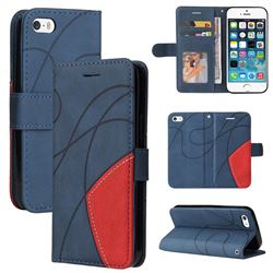 Luxury Two-color Stitching Leather Wallet Case Cover for iPhone SE 5s 5 - Blue