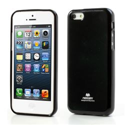 Mercury Goospery Glitter Powder Jelly TPU Back Cover for iPhone 5c - Black