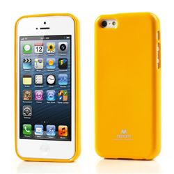 Mercury Goospery Glitter Powder Jelly TPU Back Cover for iPhone 5c - Yellow