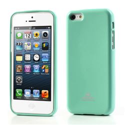 Mercury Goospery Glitter Powder Jelly TPU Back Cover for iPhone 5c - Cyan