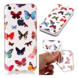 Colorful Butterfly Super Clear Soft TPU Back Cover for iPhone 5c