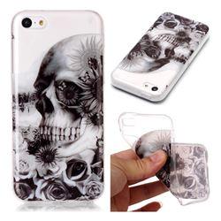 Black Flower Skull Super Clear Soft TPU Back Cover for iPhone 5c