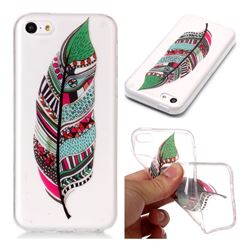 Green Feathers Super Clear Soft TPU Back Cover for iPhone 5c
